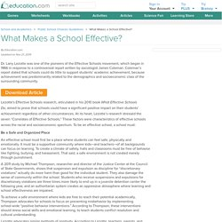 What Makes a School Effective?