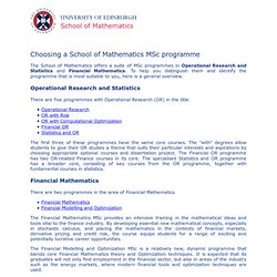 School of Applied Mathematics: MSc Programmes