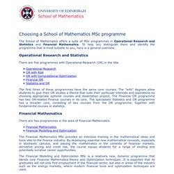 School of Applied Mathematics: MSc Programmes