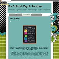 The School Psych Toolbox: IEP Goal Bank