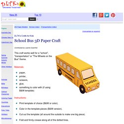 School Bus Three Dimensional Paper Craft