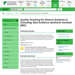Quality Teaching for Diverse Students in Schooling: Best Evidence Synthesis Iteration (BES)