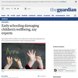 Early schooling damaging children's wellbeing, say experts