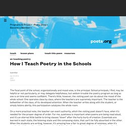 How I Teach Poetry in the Schools