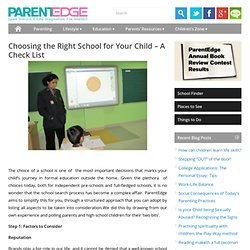 Pointers to Selecting the School for Your Child