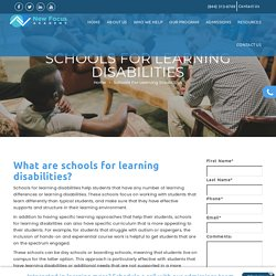 Schools For Learning Disabilities - New Focus Academy
