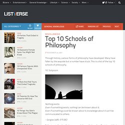 Top 10 Schools of Philosophy - Top 10 Lists | Listverse