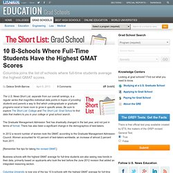 10 B-Schools Where Full-Time Students Have the Highest GMAT Scores