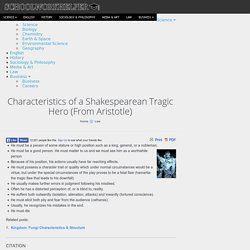 Characteristics of a Shakespearean Tragic Hero (From Aristotle)