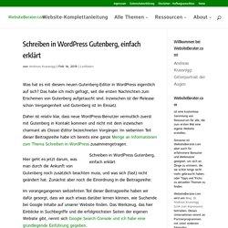 Schreiben in Wordpress Gutenberg, einfach erklärt