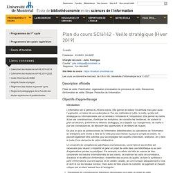 Plan du cours : SCI6142 - Veille stratégique (Hiver 2018)