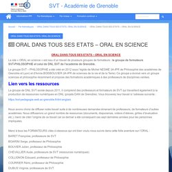 ORAL DANS TOUS SES ETATS – ORAL EN SCIENCE