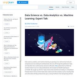 Data Science vs. Data Analytics vs. Machine Learning