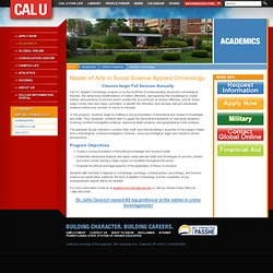 Master of Arts in Social Science (Applied Criminology) : CAL U - California University of Pennsylvania