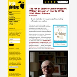 The Art of Science Communication: William Zinsser on How to Write Well About Science