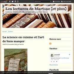 La science en cuisine et l'art de bien manger - Les lectures de Martine (et plus)
