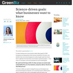 Science-driven goals: what businesses want to know