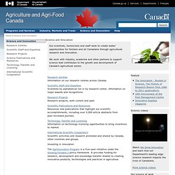 Science and Innovation - Agriculture and Agri-Food Canada (AAFC)