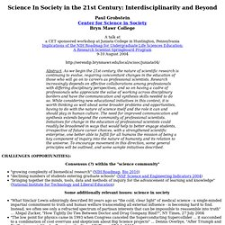 Science IN Society in the 21st Century: Interdisciplinarity and Beyond