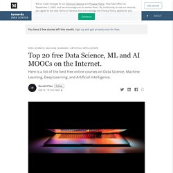 Top 20 free Data Science, ML and AI MOOCs on the Internet.