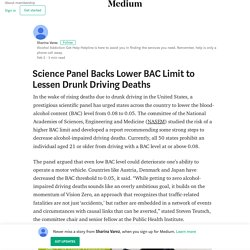 Science Panel Backs Lower BAC Limit to Lessen Drunk Driving Deaths