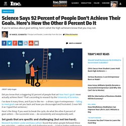 Science Says 92 Percent of People Don't Achieve Goals: Here's How the Other 8 Percent Do