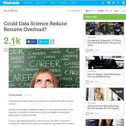 Could Data Science Reduce Resume Overload?