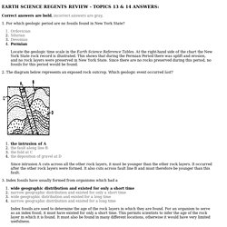 EARTH SCIENCE REGENTS REVIEW - TOPICS 13 & 14 ANSWERS