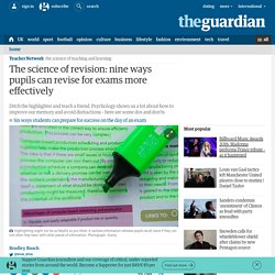 The science of revision: nine ways pupils can revise for exams more effectively