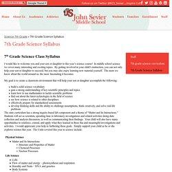 7th Grade Science Syllabus – Science 7th Grade – John Sevier Middle School