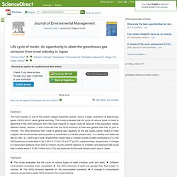 Journal of Environmental Management Volume 93, Issue 1, January 2012, Life cycle of meats: An opportunity to abate the greenhous