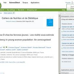 Cahiers de Nutrition et de Diététique, Volume 44, Issue 6, December 2009, L'hypovitaminose D chez les femmes jeunes : une réalit