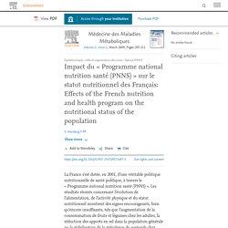 Médecine des Maladies Métaboliques, Volume 3, Issue 2, March 2009, Impact du « Programme national nutrition santé (PNNS) » sur