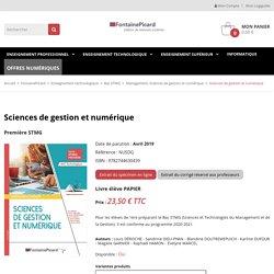 Sciences de gestion et numérique - Fontaine Picard