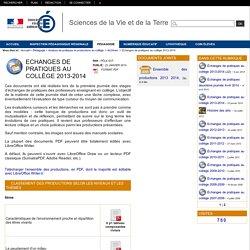 Sciences de la Vie et de la Terre - Echanges de pratiques au collège 2013-2014