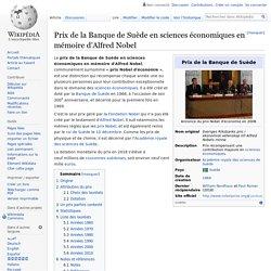 Prix de la Banque de Suède en sciences économiques en mémoire d'Alfred Nobel