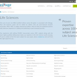 Life Sciences Editor, Life Sciences Paper Editing Expertise