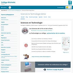 Sciences et Technologie - Sciences & Technologie 6ème