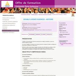 Double licence Sciences - Histoire - Offre de formation