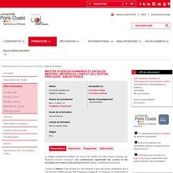Master Professionnel Sciences Humaines et Sociales<BR>Mention : Information et communication<BR>Spécialité : Métiers du livre