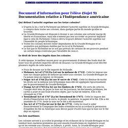 Documentation relative à l'Independance américaine (site: Ministère de l'education de la Saskatchewan)