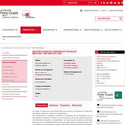 Paris 10 - Master Sciences Humaines et Sociales<BR>Mention : Histoire de l'art