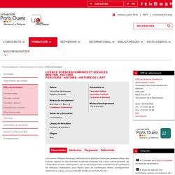 Paris 10 - Licence Sciences Humaines et Sociales Mention : Histoire / Histoire de l'art
