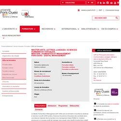 Paris Ouest (Paris 10) : Humanités et Management Parcours Digital Management