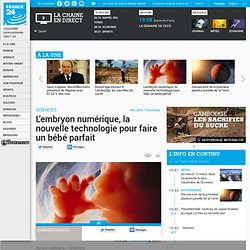 SCIENCES - L'embryon numérique, la nouvelle technologie pour faire un bébé parfait