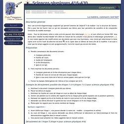 OPUS : Sciences physiques 416-430 : Compléments : La matière, comment c'est fait?