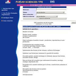 Forum Sciences - Rechercher une question