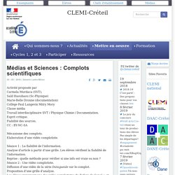 CLEMI-Créteil - Médias et Sciences : Complots scientifiques