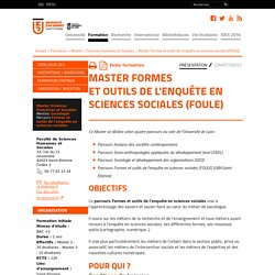 Master Formes et outils de l'enquête en sciences sociales (FOULE) - Université Jean Monnet