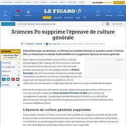 Sciences Po supprime l'épreuve de culture générale